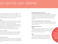 Childcare brochure for YMCA