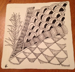 V tangles zentangle tile