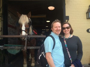 I highly suggest the horse-drawn carriage tour around Charleston! This is our horse guide, Dave.