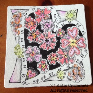 Zentangle heart hertlebee