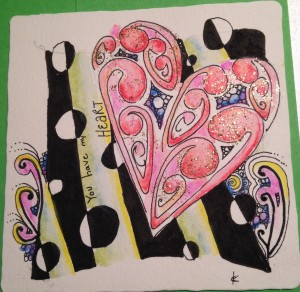 zentangle heart handmade card mooka
