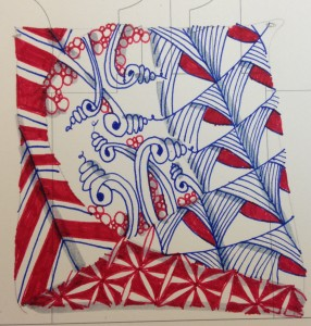 zentangle blue and red Tangle a Day calendar
