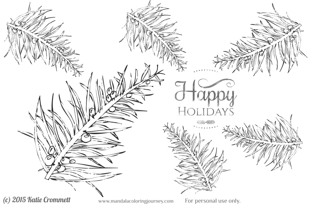 Evergreen coloring page free download happy holidays