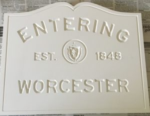 Worcester sign to raise money for art education in Worcester, MA