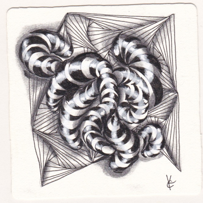 Katie Crommett, Zentangle tile for Diva Challenge 342