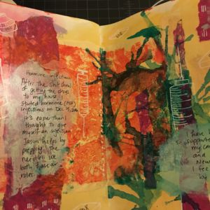 Acrylic, gel printed papers, ink in art journal