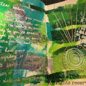 Acrylic, printed papers, ink, pen in art journal