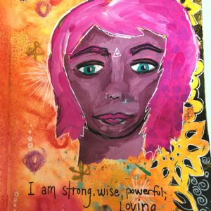 Acrylic and ink in art journal