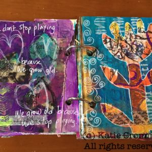Cardboard page spread made during Carolyn Dube's Permission to Play workshop
